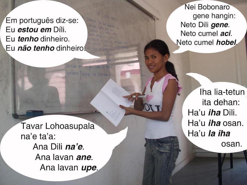 Fotografia e composição da autoria de João Paulo T. Esperança. Esta fotografia foi usada como ilustração num curso de língua portuguesa em tétum cujas lições eram publicadas no jornal timorense Lia Foun.
