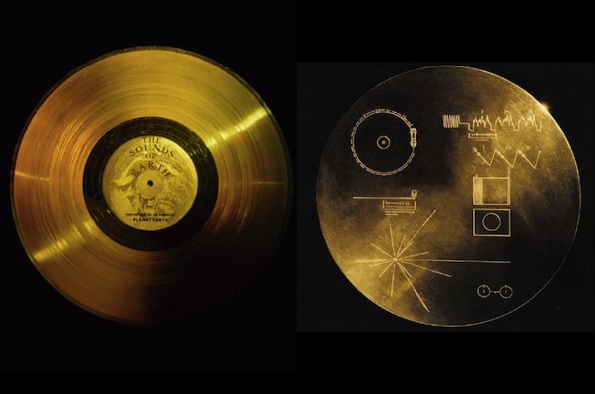 Disco de cobre banhado a ouro