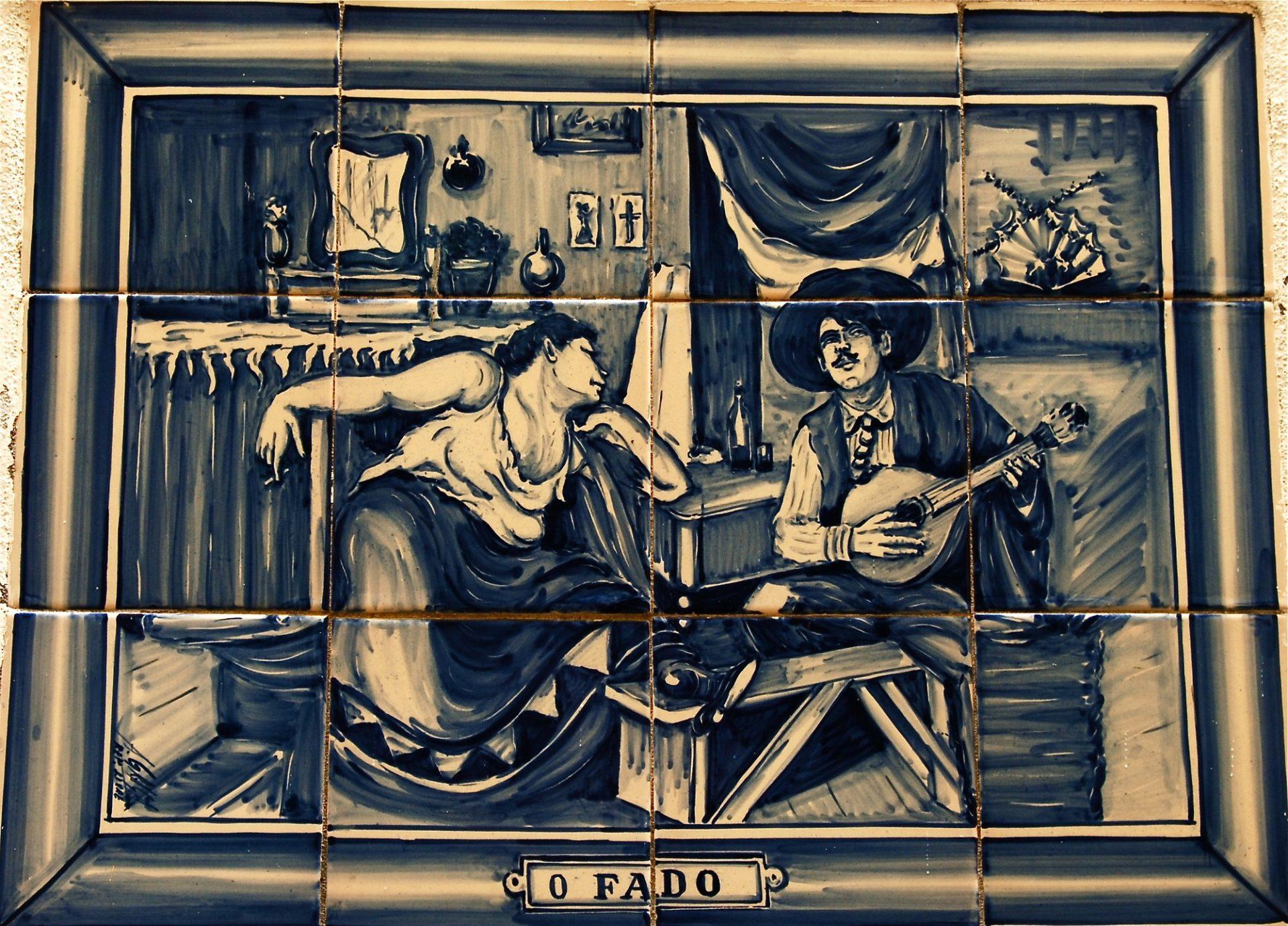 """Fado"", Azulejo. Estrada Velha, Sintra, Portugal"