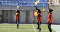 Árbitras e assistentes da UEFA presentes no Mundialito de Futebol Feminino a decorrer no Algarve, aproveitam os dias de paragem dos jogos para aperfeiçoar técnicas, Faro, 06 de março de 2016. LUÍS FORRA/LUSA