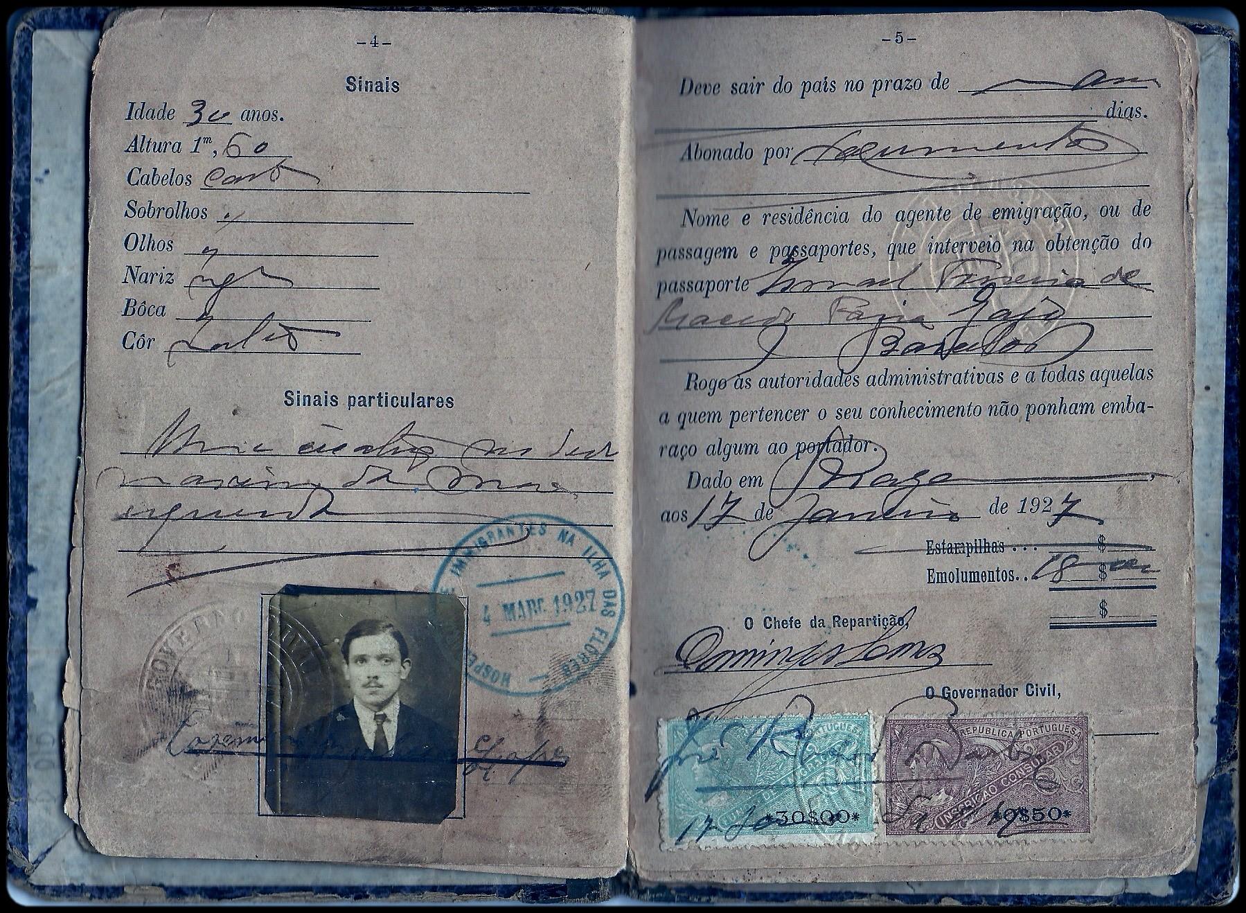 Passaporte de um imigrante português de 1927