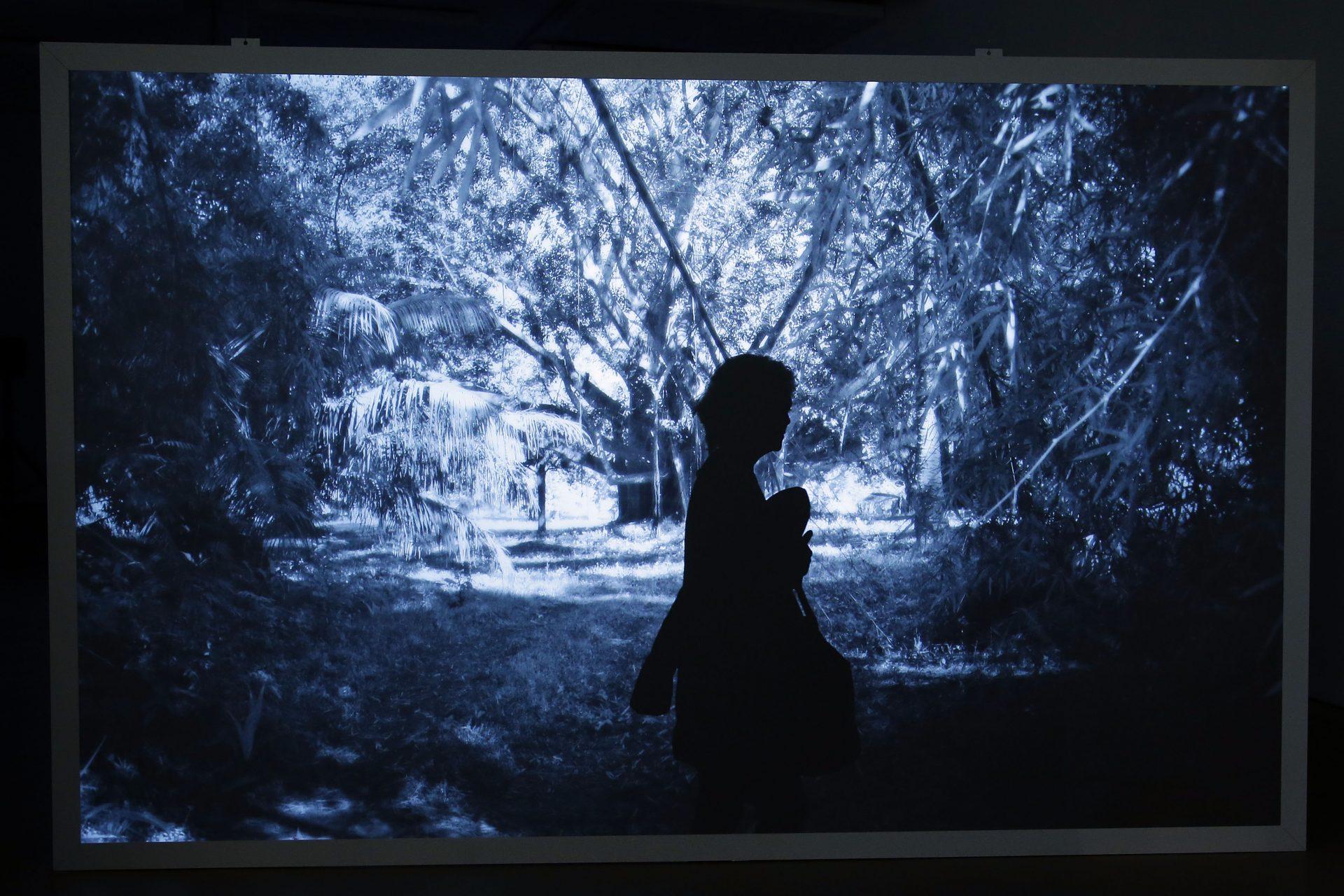 """Uma visitante observa uma obra de arte durante uma visita guiada à imprensa da exposição individual """"Ana Torfs: Echolalia"""", 10 de março de 2016 no Centro de Arte Moderna - Fundação Calouste Gulbenkian em Lisboa. TIAGO PETINGA/LUSA"""