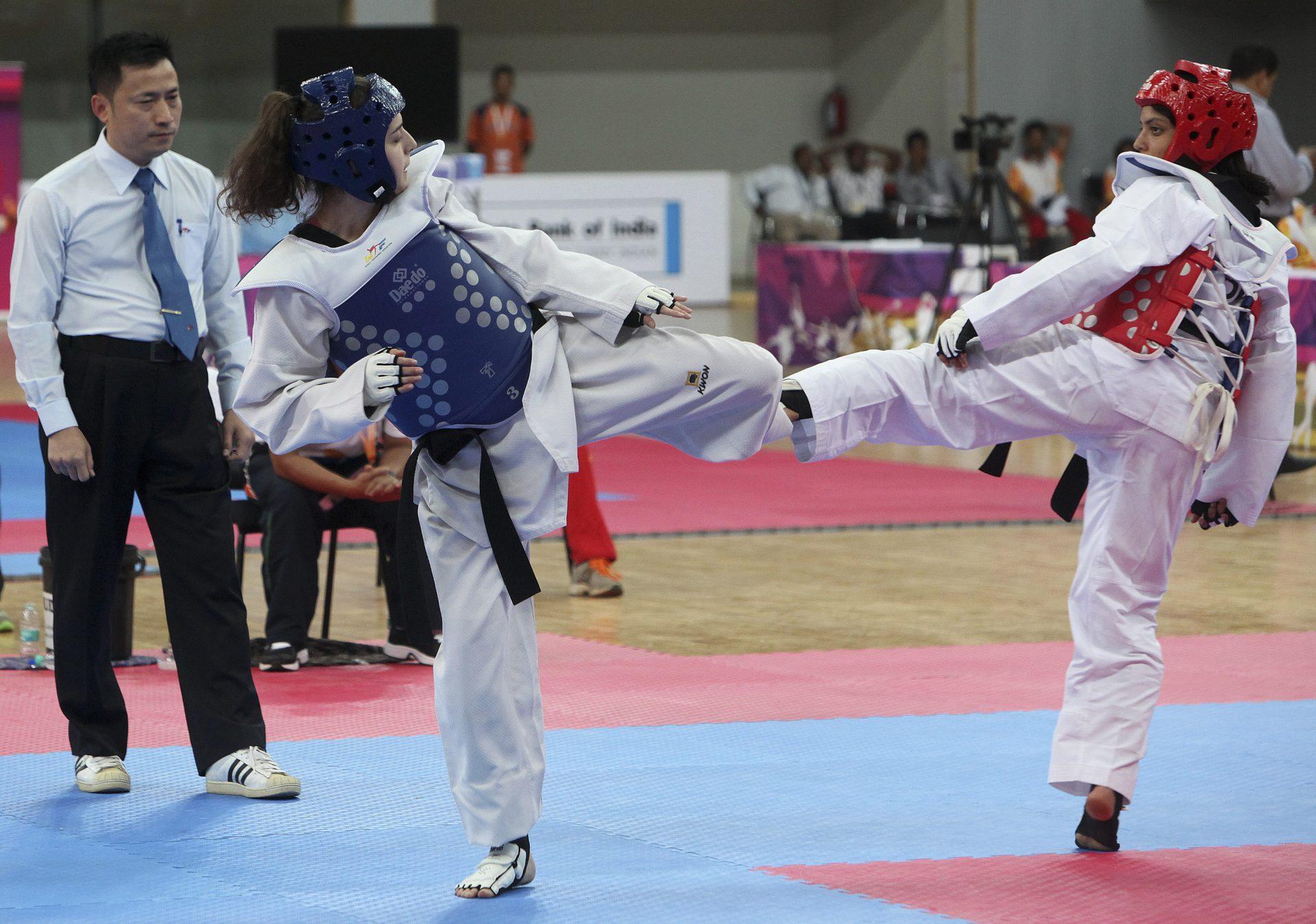 Competição feminina de taekwondo -57 kg na III Edição dos Jogos da Lusofonia. Pavilhão Multiusos de Peddem, em Mapusa, em Goa, Índia, 26 de Janeiro de 2014. GONÇALO LOBO PINHEIRO/LUSA