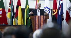 O ministro do Planeamento e Investimento Estratégico timorense, Xanana Gusmão, discursa no 1.º Fórum Económico Global da CPLP, em Díli, Timor-Leste, 26 de fevereiro de 2016. BERNARDINO SOARES/LUSA