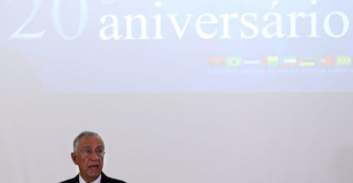 """O Presidente da República, Marcelo Rebelo de Sousa, discursa durante a sessão solene de comemoração do 20.º Aniversário da Comunidade dos Países de Língua Portuguesa (CPLP)"""" realizada na sede da CPLP, Lisboa, 18 de julho de 2016.  TIAGO PETINGA/LUSA"""