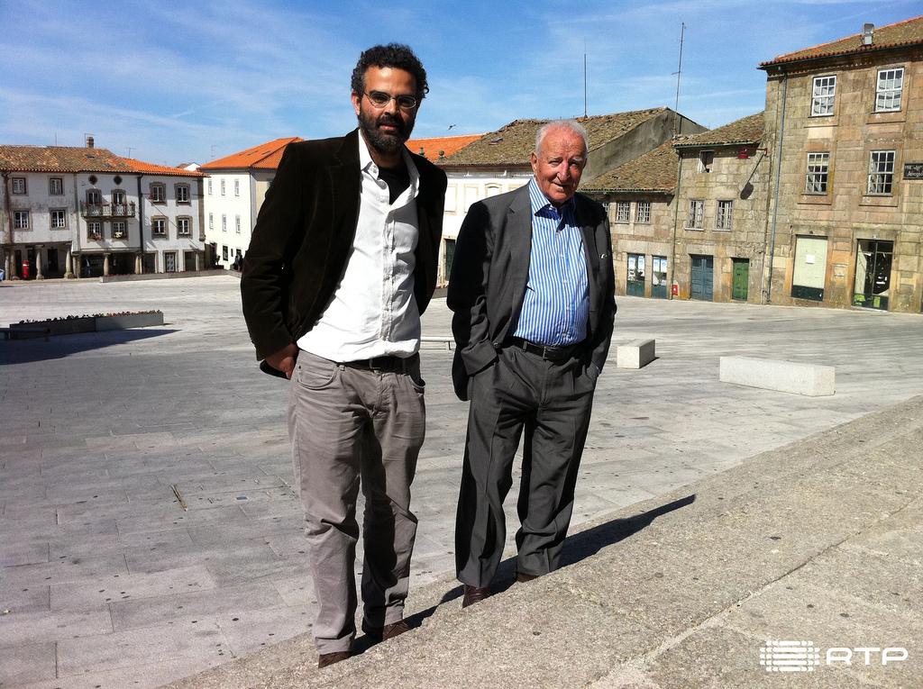 Goncalo M Tavares com Eduardo Lourenco na Guarda