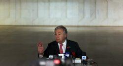 O eleito secretário-geral da ONU, António Guterres, numa conferência de imprensa durante a XI Cimeira da CPLP em Brasília no Brasil, 31 de outubro de 2016. ANDRÉ KOSTERS / LUSA