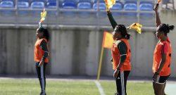 Árbitras e assistentes da UEFA presentes no Mundialito de Futebol Feminino a decorrer no Algarve, 08/03/2016. LUÍS FORRA/LUSA