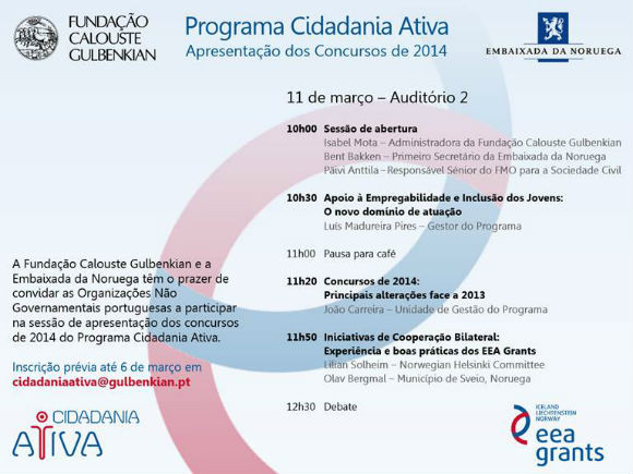 Programa Cidadania Ativa – Lançamento Concursos 2014