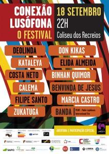 Cartaz do Festival - Conexão Lusófona no Coliseu dos Recreios em Lisboa dia 18 de Setembro