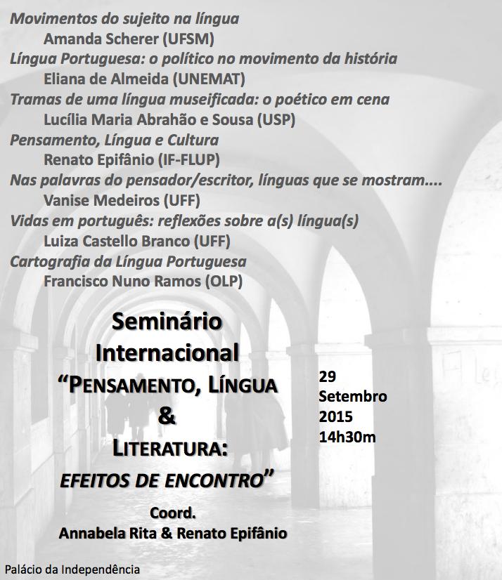 "Seminário Internacional ""Pensamento, Língua & Literatura"""