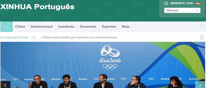 Agência oficial chinesa Xinhua lança portal em português