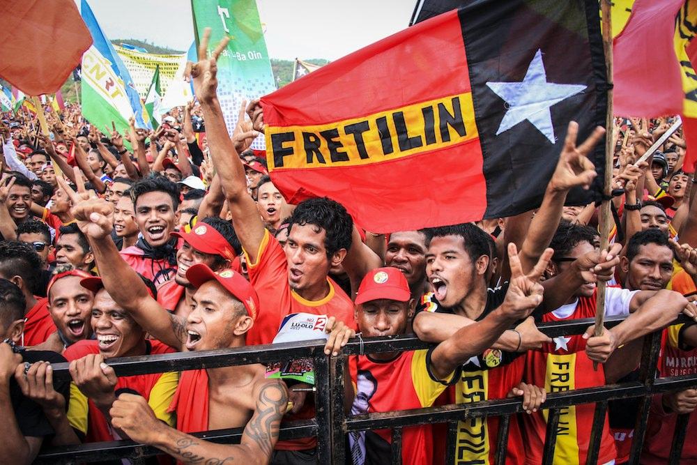 Apoiantes de Francisco Guterres Lu'Olo Timor Leste, 17 March 2017.EPA/ANTONIO DASIPARU - LUSA
