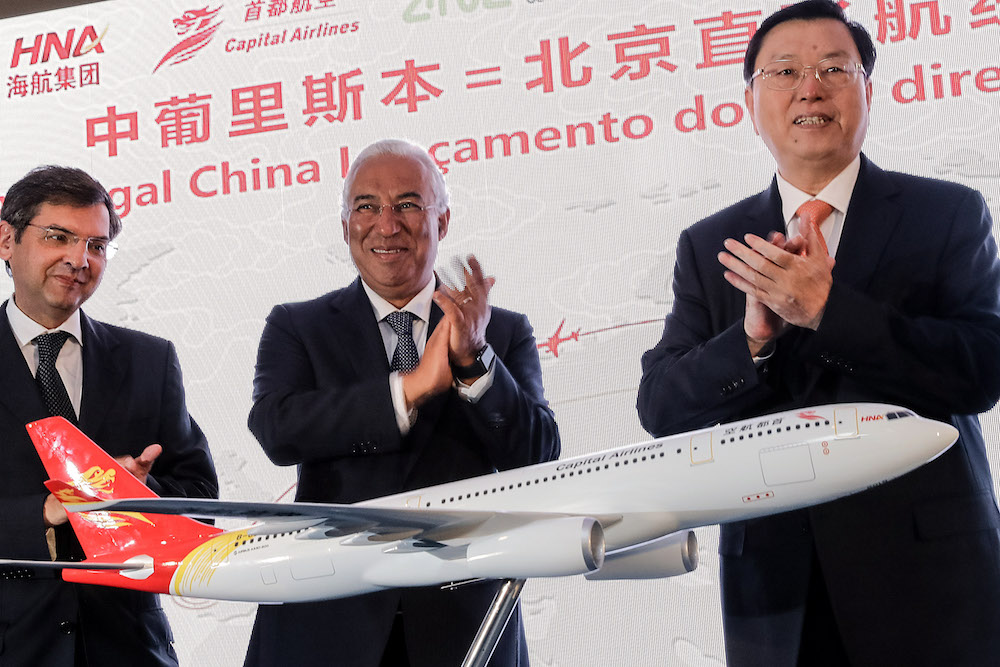 Cerimónia de inauguração dos voos diretos Lisboa-Pequim