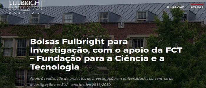 Bolsas Fulbright Portugal para investigação nos Estados Unidos 2018