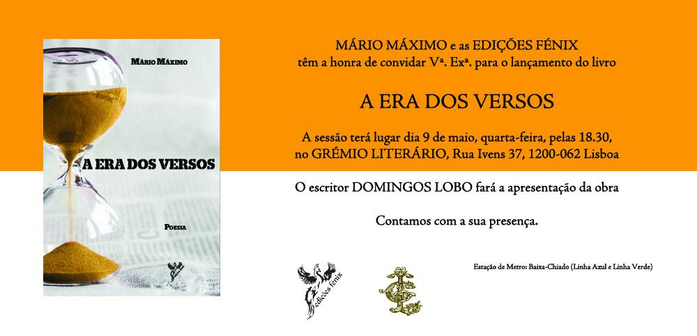 """lançamento do livro de poemas """"A ERA DOS VERSOS"""""""