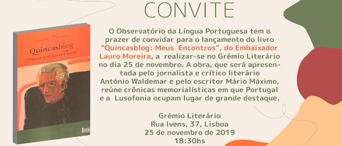 """lançamento de """"Quincasblog: Meus Encontros"""""""